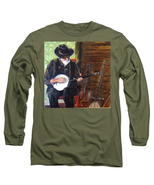 Mountain Music Long Sleeve T-Shirt by T Fry-Green