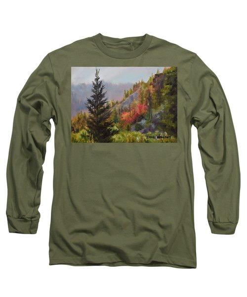 Mountain Slope Fall Long Sleeve T-Shirt by Lori Brackett