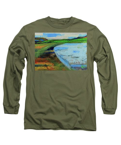 Long Sleeve T-Shirt featuring the painting Mouth Of The Creek by Walter Fahmy
