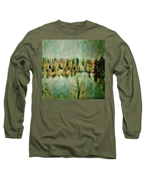Long Sleeve T-Shirt featuring the painting Movie A Chance In The World Placid Lake Frozen In The Winter Fall Ice Bitter Cold Uninviting Cool Pa by MendyZ