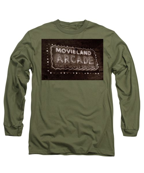 Long Sleeve T-Shirt featuring the photograph Movieland Arcade - Gritty by Stephen Stookey
