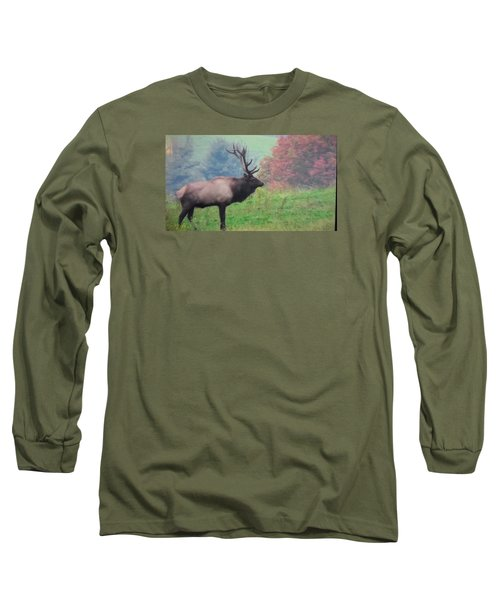 Mr Elk Enjoying The Autumn Long Sleeve T-Shirt by Jeanette Oberholtzer