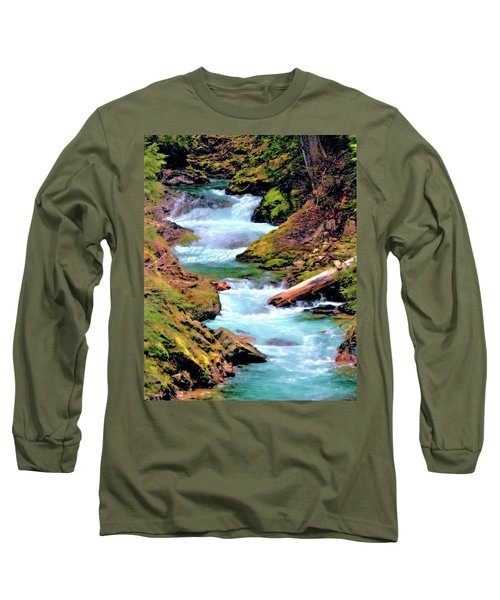 Mt Rainier Cascades, Fine Art Print Long Sleeve T-Shirt