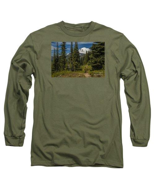 Mt. Rainier Naches Trail Landscape Long Sleeve T-Shirt by Chuck Flewelling