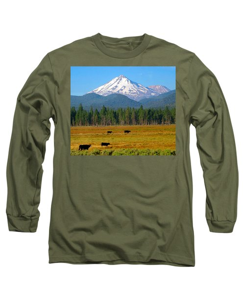 Mt. Shasta Morning Long Sleeve T-Shirt by Betty Buller Whitehead
