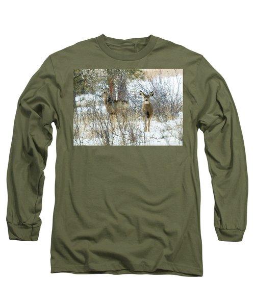 Mule Deer Does In Snow Long Sleeve T-Shirt