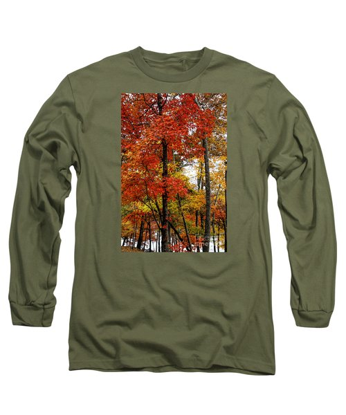 Multi-colored Leaves Long Sleeve T-Shirt by Barbara Bowen
