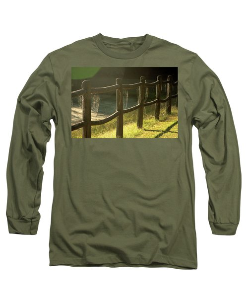 Multiple Spiderwebs On Wooden Fence Long Sleeve T-Shirt by Emanuel Tanjala