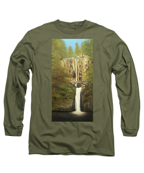 Long Sleeve T-Shirt featuring the mixed media Multnomah Falls by Angela Stout