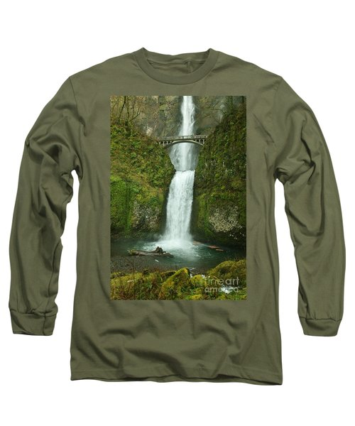 Multnomah Falls Long Sleeve T-Shirt by Sheila Ping