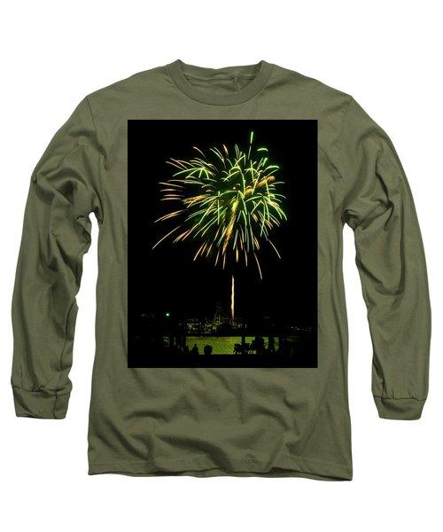 Long Sleeve T-Shirt featuring the photograph Murrells Inlet Fireworks by Bill Barber