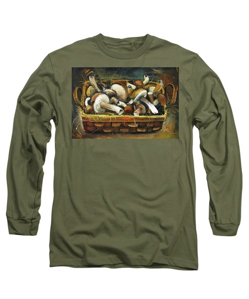 Long Sleeve T-Shirt featuring the painting Mushrooms by Mikhail Zarovny