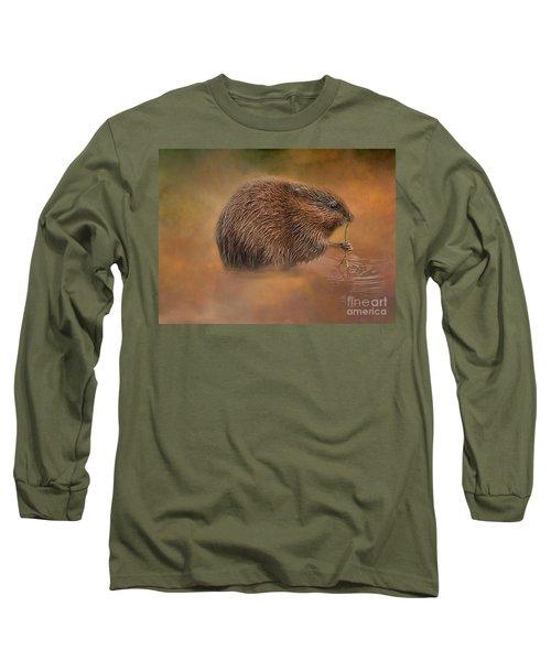 Muskrat Snack Long Sleeve T-Shirt by Geraldine DeBoer