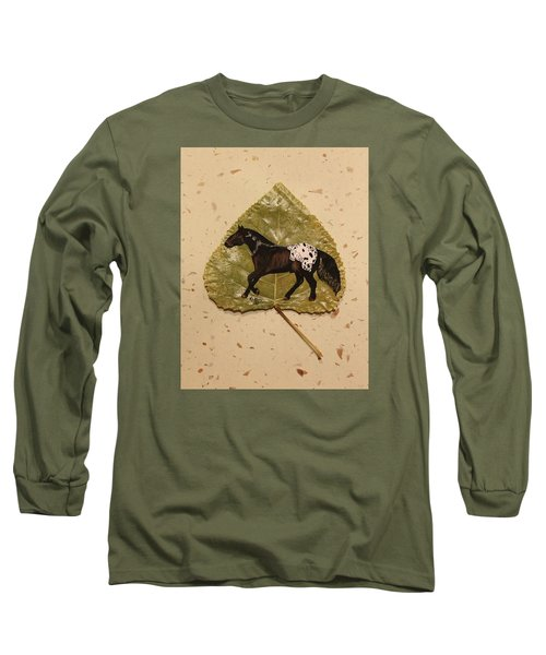 Mustang Appaloosa On Poplar Leaf Long Sleeve T-Shirt by Ralph Root