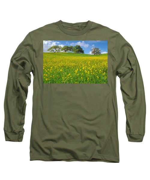 Long Sleeve T-Shirt featuring the photograph Mustard Field by Mark Greenberg