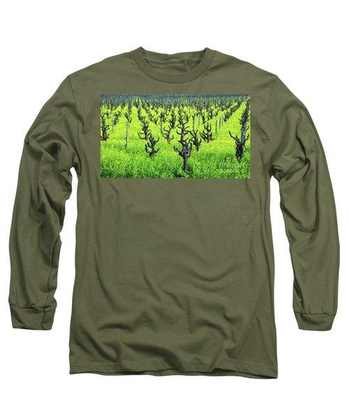 Mustard Flowers In The Vineyards Long Sleeve T-Shirt