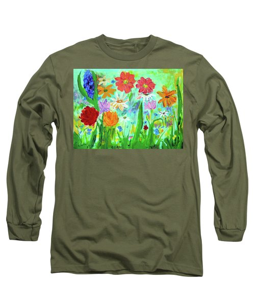 My Happy Garden 1  Long Sleeve T-Shirt by Haleh Mahbod