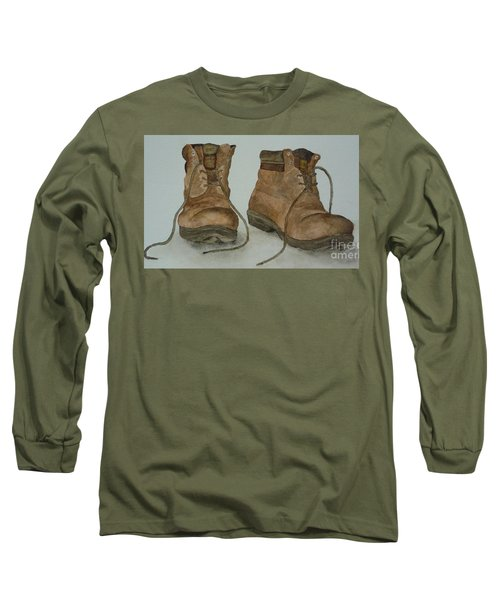 Long Sleeve T-Shirt featuring the painting My Old Hiking Boots by Annemeet Hasidi- van der Leij