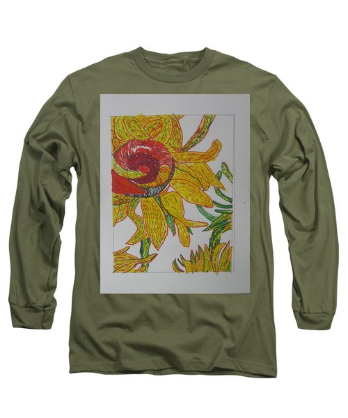 Long Sleeve T-Shirt featuring the drawing My Version Of A Van Gogh Sunflower by AJ Brown