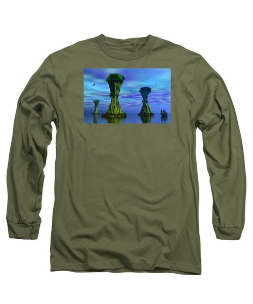 Mysterious Islands Long Sleeve T-Shirt by Mark Blauhoefer