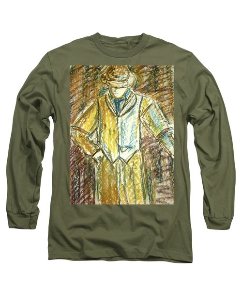 Long Sleeve T-Shirt featuring the painting Mystery Man by Cathie Richardson