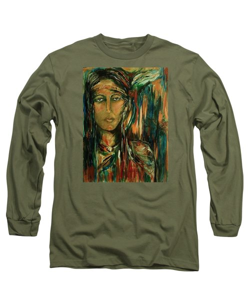 Long Sleeve T-Shirt featuring the painting Nancy Ward Beloved Woman Nanye by Dawn Fisher