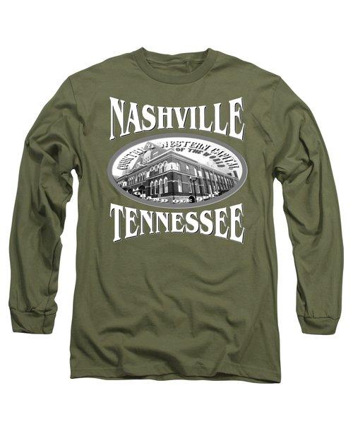 Nashville Tennessee Tshirt Design Long Sleeve T-Shirt by Art America Gallery Peter Potter