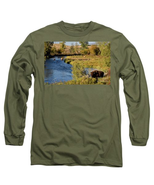 National Bison Range Long Sleeve T-Shirt by Cindy Murphy - NightVisions