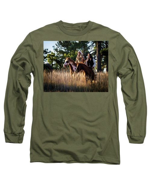 Native Americans On Horses In The Morning Light Long Sleeve T-Shirt