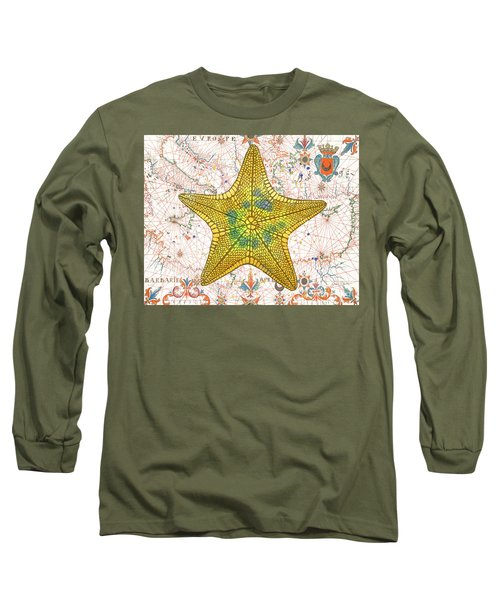 Long Sleeve T-Shirt featuring the painting Nautical Treasures-j by Jean Plout