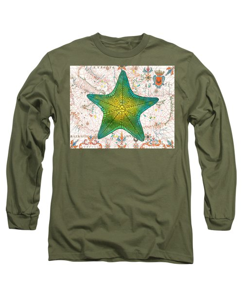 Long Sleeve T-Shirt featuring the painting Nautical Treasures-l by Jean Plout