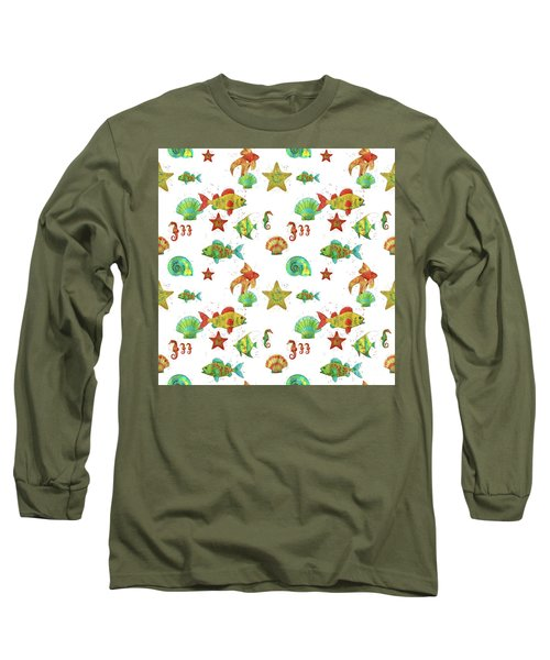 Long Sleeve T-Shirt featuring the painting Nautical Treasures-s by Jean Plout