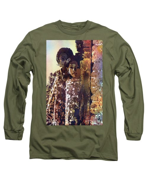 Long Sleeve T-Shirt featuring the painting Nepalese Girls by Ryan Fox