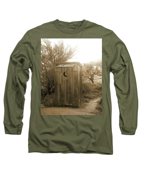Never Squat With Your Spurs On, Sepia Long Sleeve T-Shirt