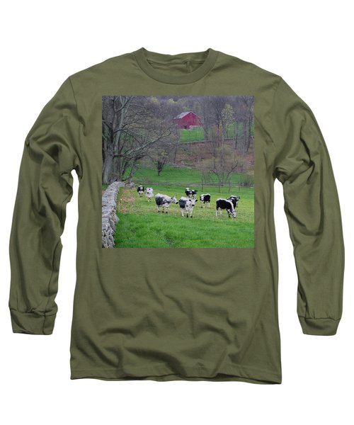 Long Sleeve T-Shirt featuring the photograph New England Spring Pasture Square by Bill Wakeley