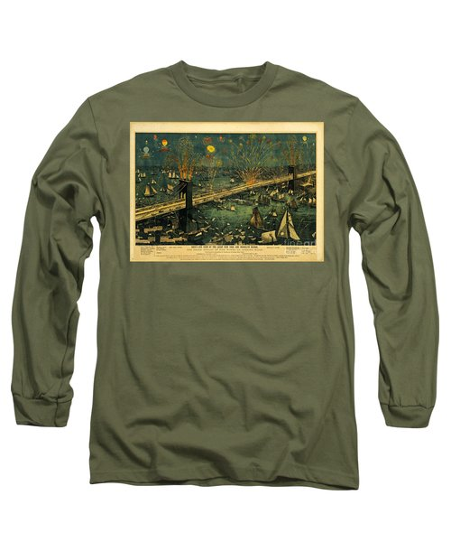 Long Sleeve T-Shirt featuring the photograph New York And Brooklyn Bridge Opening Night Fireworks by John Stephens