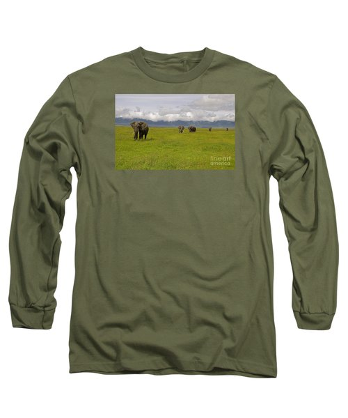 Ngorongoro Elephants-signed-#0135 Long Sleeve T-Shirt by J L Woody Wooden
