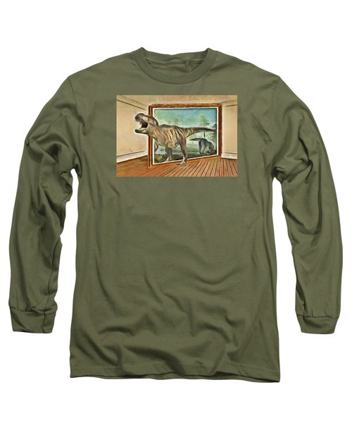 Long Sleeve T-Shirt featuring the painting Night At The Art Gallery - T Rex Escapes by Wayne Pascall