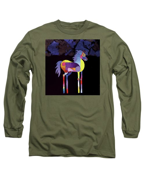 Long Sleeve T-Shirt featuring the painting Night Foal by Bob Coonts