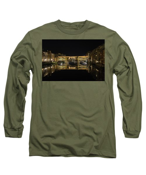 Night Reflections Of The Ponte Vecchio Long Sleeve T-Shirt