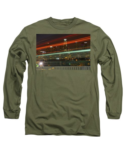 Night Shot Of Downtown Los Angeles Skyline From 6th St. Bridge Long Sleeve T-Shirt