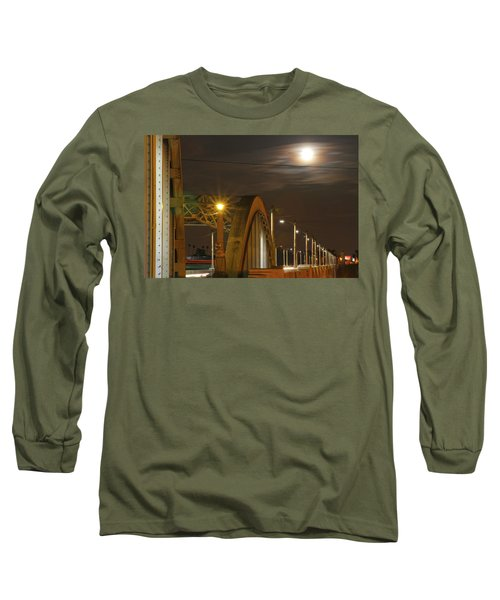 Night Shot Of The Los Angeles 6th Street Bridge And Supermoon #7 Long Sleeve T-Shirt