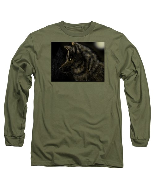 Night Silent Wolf Long Sleeve T-Shirt