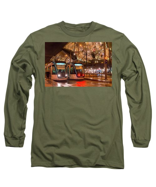 Night View Of Two Trams At Glories Station  Long Sleeve T-Shirt