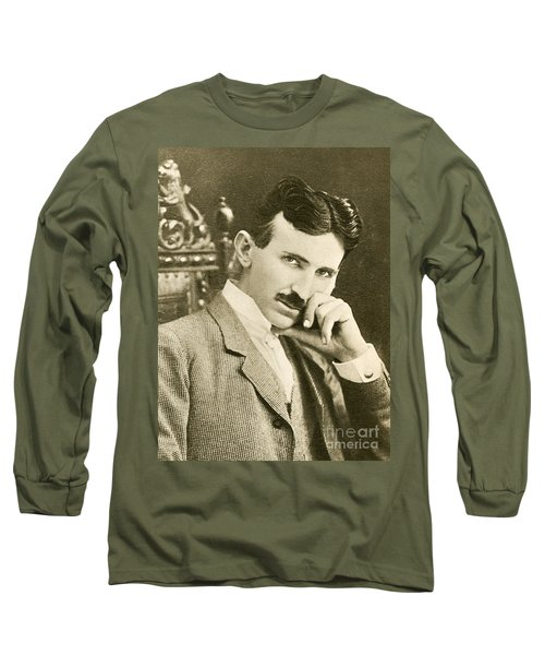 Nikola Tesla, Serbian-american Inventor Long Sleeve T-Shirt by Photo Researchers
