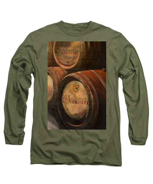 No Wine Before It's Time - Barrels-chateau Meichtry Long Sleeve T-Shirt by Jan Dappen