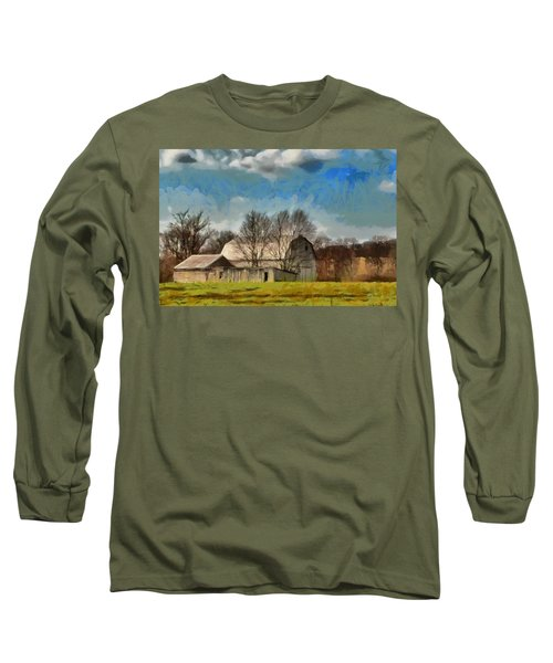 Long Sleeve T-Shirt featuring the mixed media Norman's Homestead by Trish Tritz