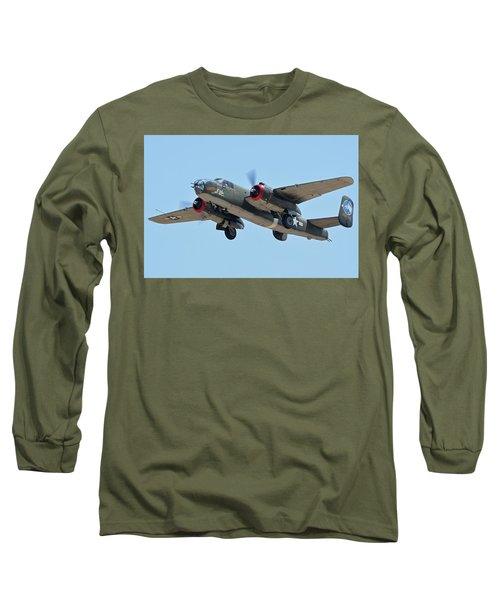 Long Sleeve T-Shirt featuring the photograph North American B-25j Mitchell Nl3476g Tondelayo Phoenix-mesa Gateway Airport Arizona April 15, 2016 by Brian Lockett