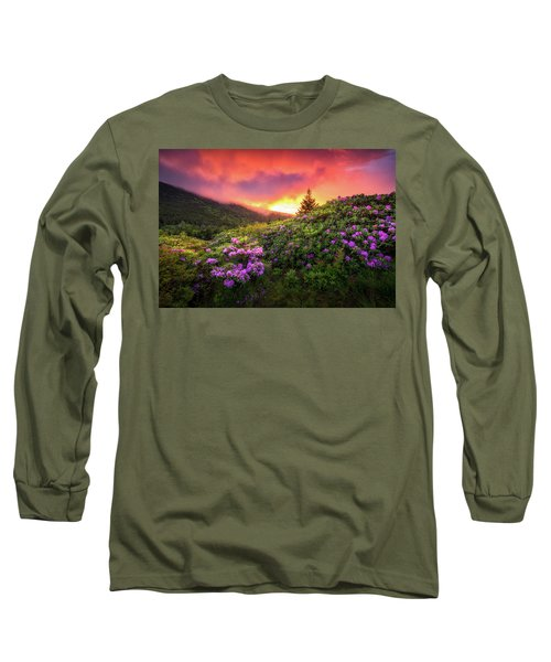 North Carolina Mountains Outdoors Landscape Appalachian Trail Spring Flowers Sunset Long Sleeve T-Shirt