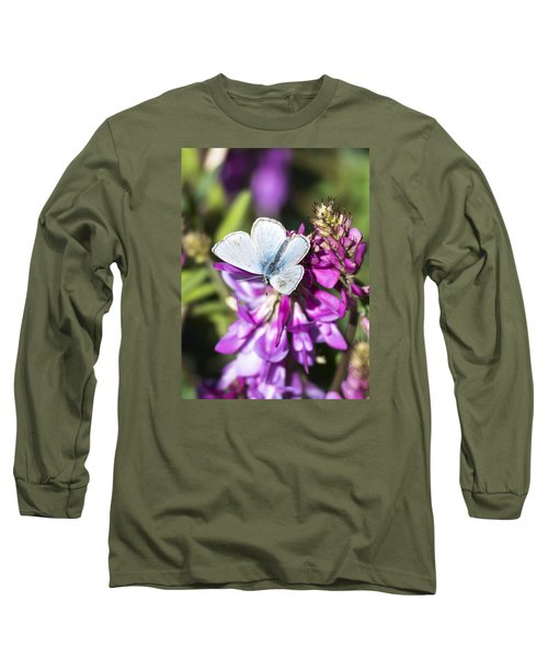 Northern Blue Butterfly Long Sleeve T-Shirt